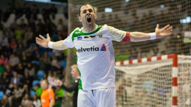 Goñi celebra un gol con el Anaitasuna / BM Anaitasuna