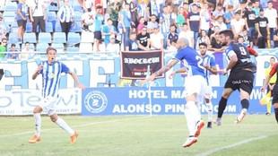 Momento en el que Willy hacía el empate para el Extremadura.