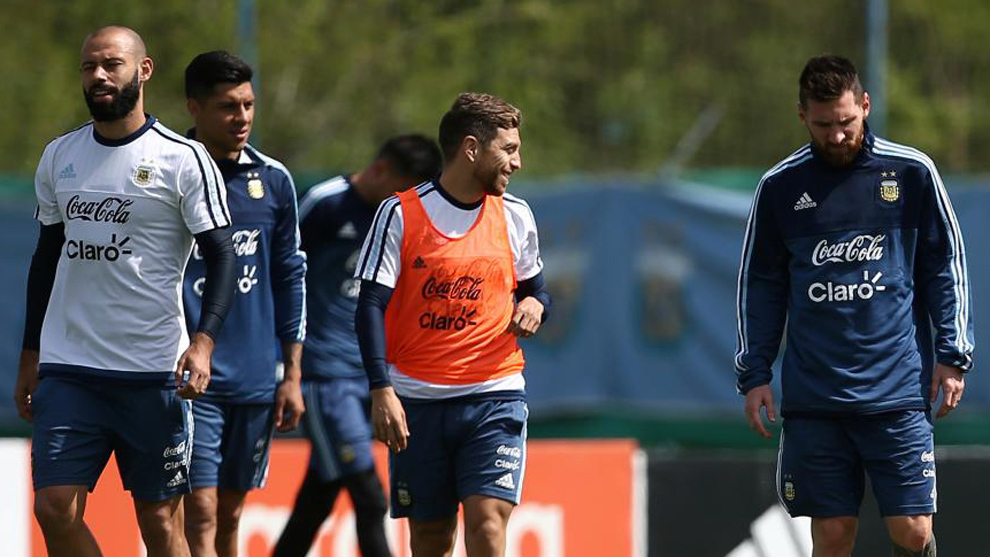 Los jugadores de la selección Argentina, en un entrenamiento