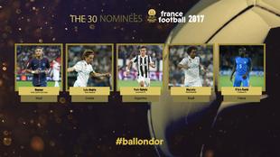 Los cinco primeros nominados al Balón de Oro 2017