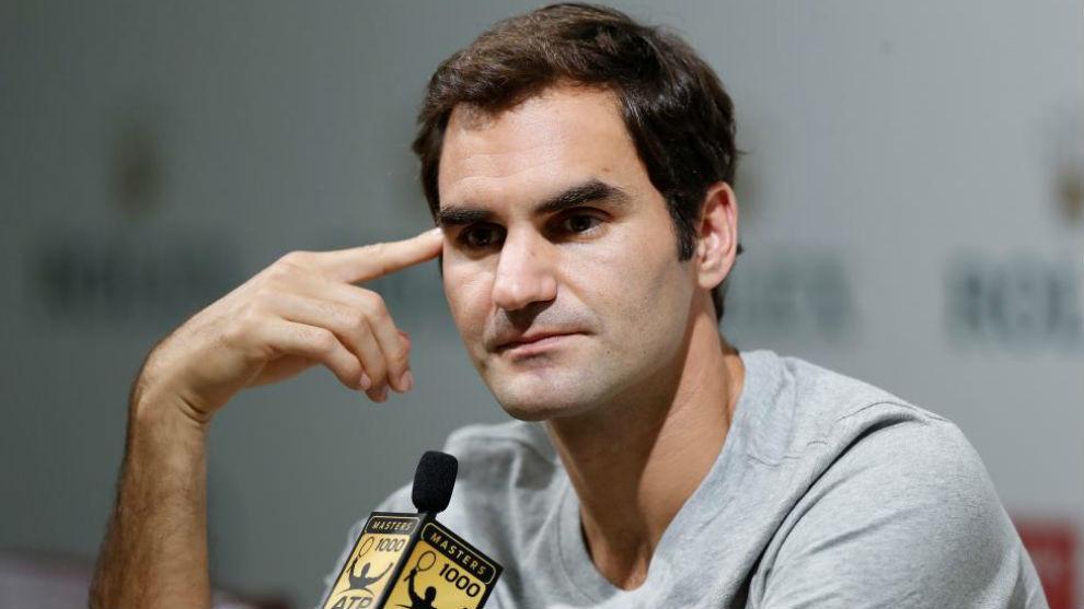Federer, durante la rueda de prensa