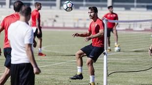 Juan Muñoz, durante un entrenamiento reciente del Almería