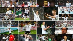 Mosaico con todos los goleadores de Alemania durante la fase de...
