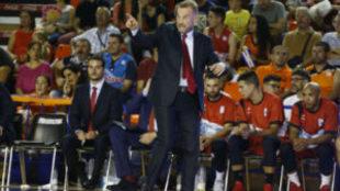 Nestor Garc�a durante su primer partido en Fuenlabrada contra el...