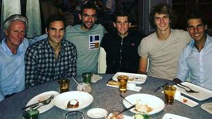 Borg, Federer, Cilic, Thiem, Zverev y rafa, en la cena