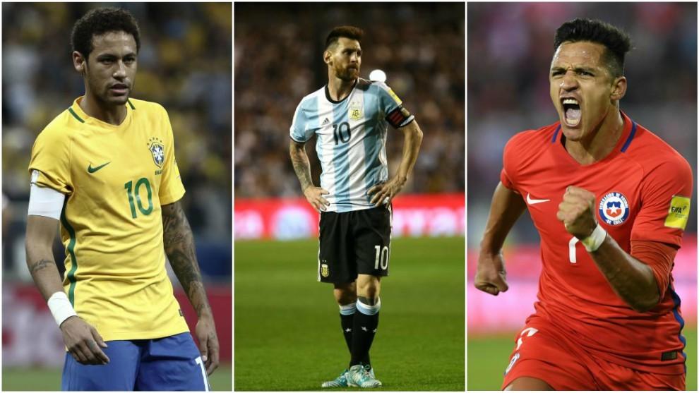 Neymar (25), Messi (30) y Alexis (28), en partidos con sus respectivas...