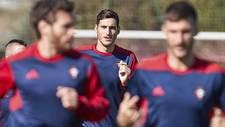 El meta Sergio Herrera, durante el entrenamiento de este lunes en...