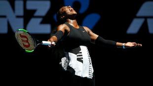 Serena Williams durante el partido de cuartos de final del Open de...