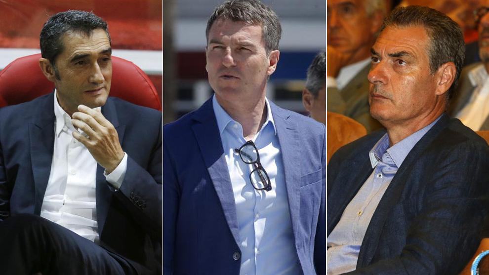 Ernesto Valverde, Robert Fernández y Pep Segura.