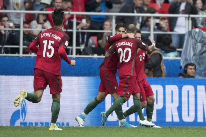 Festejos en los goles de Portugal.
