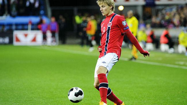 Odegaard, en un partido con Noruega.