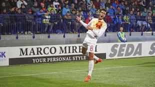 Mikel Merino celebra el primer gol de España