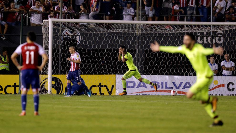 Herrera celebra el gol de la victoria