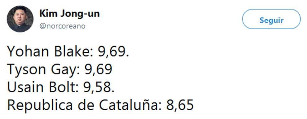 Tuit de @norcoreano comparando la República de Cataluña de Carles...