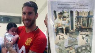 Sergio Ramos, con el ni�o Ramos en brazos en Jerusal�n