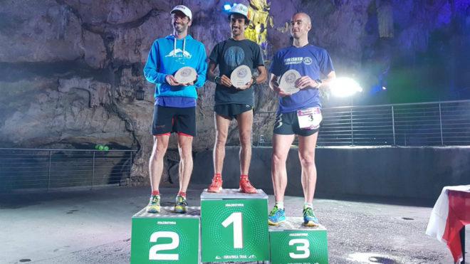 El podio de la 'Visit Gibraltar Vertical Race'.