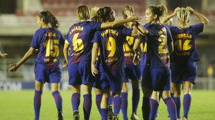 Las jugadoras del Barcelona celebran un gol ante el Avaldsnes.