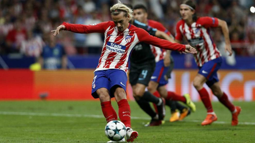 Griezmann anotando su último gol con el Atlético