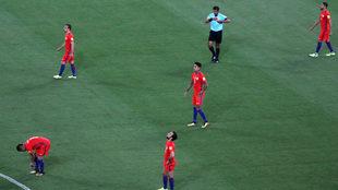 Selección chilena, al finalizar la derrota ante Brasil.