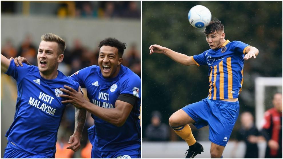 Jugadores del Cardiff City y el Shrewsbury Town