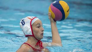 Helena Lloret en un partido con la selección española frente a...
