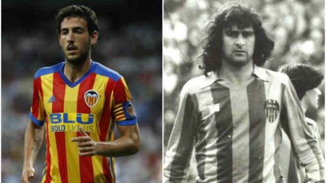 Parejo y Kempes, con la camiseta de la Senyera del Valencia.