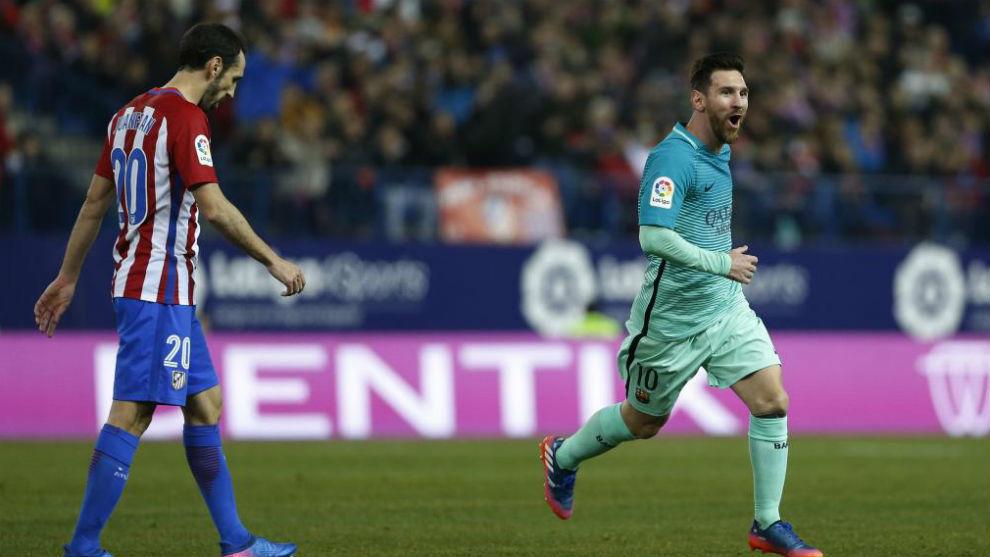 Messi celebra uno de sus goles en el Camp Nou