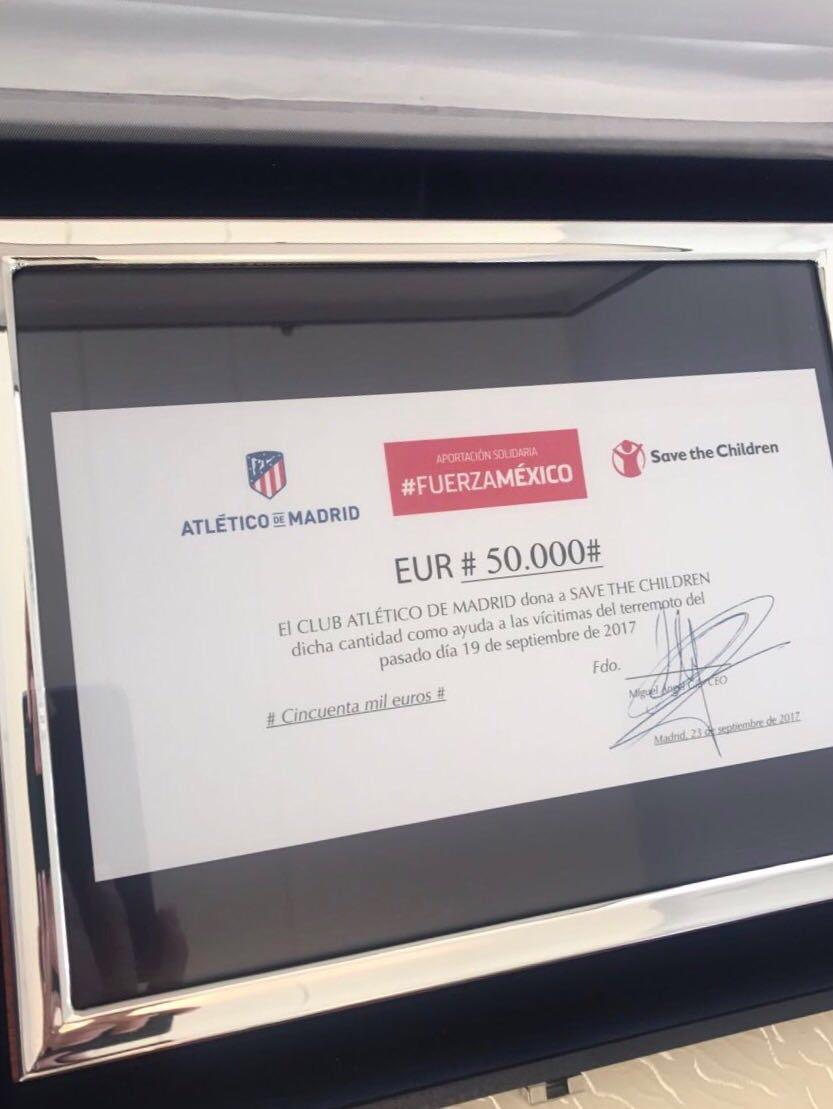 Cantidad donada por el Atlético de Madrid.