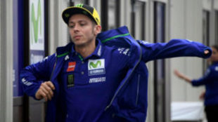 Rossi, a su llegada al circuito de Motegi