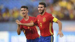 Abel Ruiz celebra un gol ante Niger.