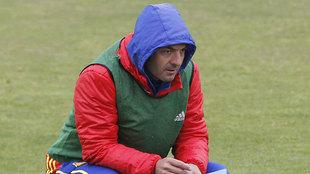 Santi Denia, en el entrenamiento de la Selección Española