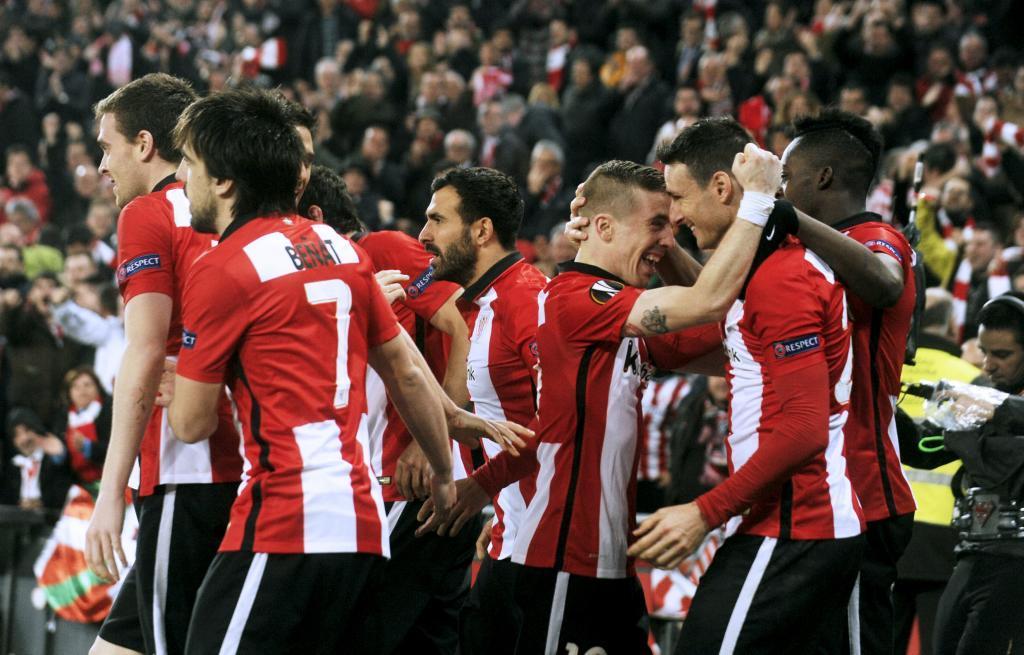 Los jugadores del Athletic durante un partido frente al Sevilla en San...