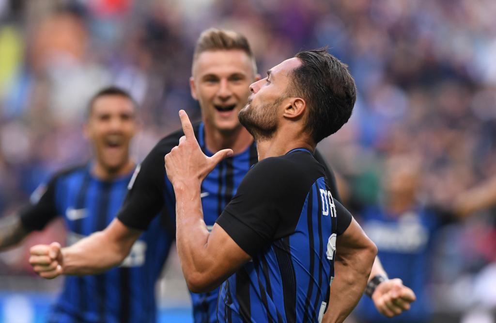 D'Ambrosio (29) celebra tras anotar un gol para el Inter