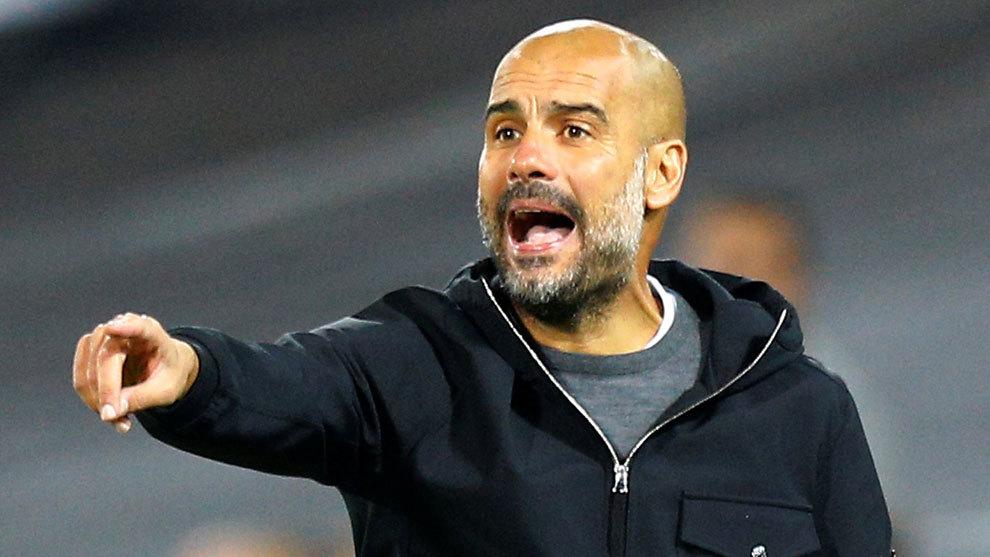 Pep Guardiola, en un partido del City