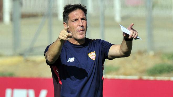 Eduardo Beriizo, en el entrenamiento en la ciudad deportiva.