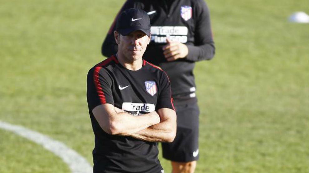 Simeone durante el entrenamiento.