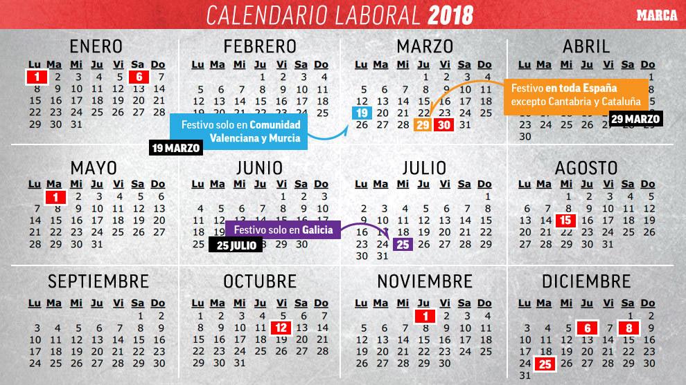 Calendario Festivo.Calendario 2018 Calendario Laboral Espana 2018 Todos Los