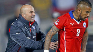 Sampaoli y Vidal, en su época conjunta en Chile.