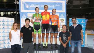 El podio de puntuación femenina.