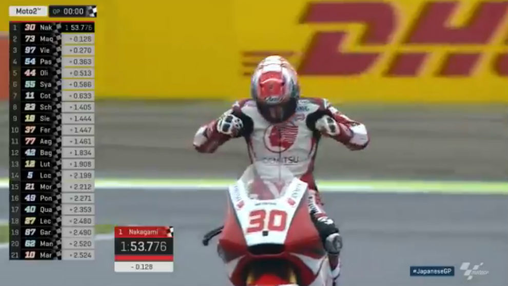 Takaaki Nakagami celebra su 'pole' en Moto2