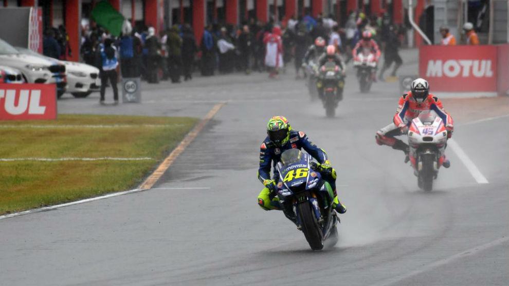 Valentino Rossi, saliendo a la pista en Motegi