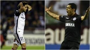 Ezequiel Cerutti (25) y José Sand (37) en un partido entre Lanús y...