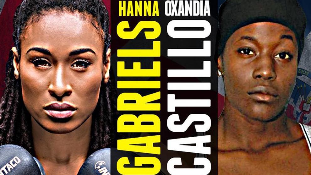 Cartel del combate entre Hanna Gabriel y Oxandia Castillo