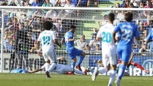 Jorge Molina, en la acción del gol del Getafe.