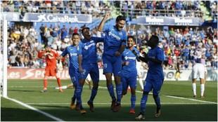 Jorge Molina celebra su gol ante el Real Madrid