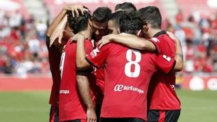 Los jugadores del Mallorca celebran un gol esta temporada.