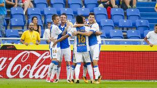 El Leganés celebra un gol ante Las Palmas