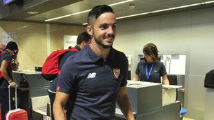Pablo Sarabia, este domingo en el aeropuerto de San Pablo.