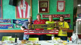 Hermanamiento entre aficionados del Girona FC y del Villarreal CF