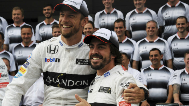 Jenson Button y Fernando Alonso.